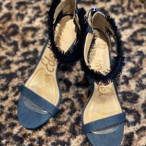 Sam Edelman Denim Fringed Heels